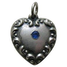 "Vintage Sapphire Paste Scroll Border ""Ada"" Sterling Heart Charm"