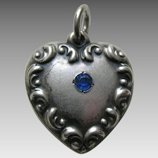 "Vintage Sapphire Paste Scroll Border ""Ada"" Sterling Heart Charm"