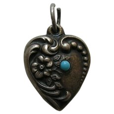 Vintage Turquoise Paste  Flower Sterling Heart Charm