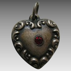"Vintage Garnet Paste Scroll Border ""Itchy"" Sterling Heart Charm"