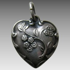 "Vintage Wildflower ""Father"" Sterling Heart Charm"