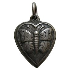 """Vintage Butterfly """"Phil"""" Sterling Heart Charm"""