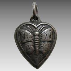 "Vintage Butterfly ""Phil"" Sterling Heart Charm"