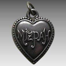 "Antique Mizpah ""B.P.J."" Sterling Heart Charm"