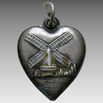 Vintage Windmill Sterling Heart Charm
