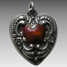 Vintage Floral Border Burnt Orange Enameled Large Sterling Heart Charm
