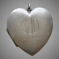 "Antique Blackinton ""BJD"" Large Sterling Heart Locket"