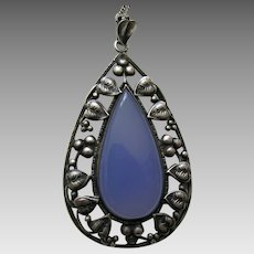 Arts and Crafts Chalcedony Leaf and Berry Sterling Pendant and Chain