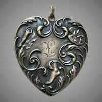 "Victorian Trilby ""L"" Large Sterling Heart Locket"