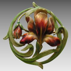Art Nouveau Bippart and Griscom Enameled Iris 14k Brooch