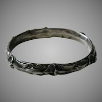 Victorian Hollow Calla Lily Sterling Bangle Bracelet