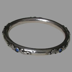 Victorian Hollow Sapphire Paste Sterling Bangle