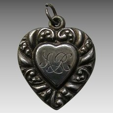 "Vintage Large Scroll Border Double Sided ""AR"" Sterling Heart Charm"