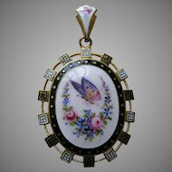 Antique Butterfly and Roses Gold Washed Locket