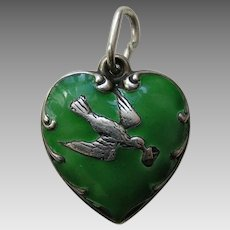 Vintage Green Enameled Bird and Letter Sterling Heart Charm
