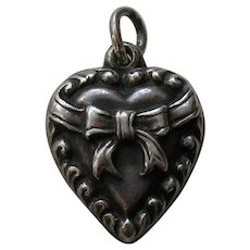 """Vintage Bow """"Dorothy"""" Sterling Heart Charm"""