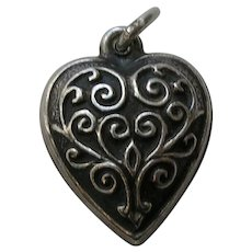 Vintage Swirl Extra Puffy Sterling Heart Charm