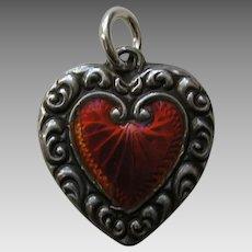 Antique Orange Enameled Scroll Border Sterling Heart Charm