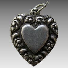 Vintage Double Sided Sterling Heart Charm
