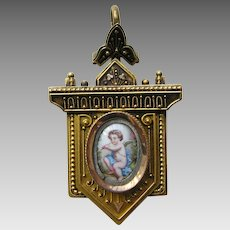 Antique Etruscan Enameled Cherub 14k Locket