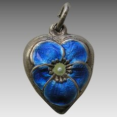 Vintage Blue Enameled Pansy Sterling Heart Charm