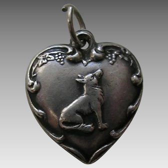 "Vintage Fox and Grapes ""Shirley"" Sterling Heart Charm"