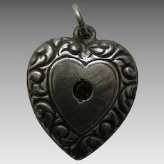"Vintage Garnet Paste Scroll Border Double Sided ""KR"" Sterling Heart Charm"