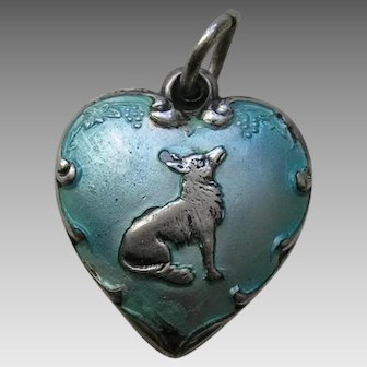 Vintage Turquoise Enameled Fox and Grapes Sterling Heart Charm