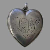 "Victorian Medium ""LFL"" Sterling Heart Locket"
