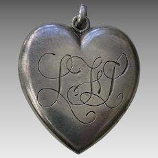 """Victorian Medium """"LFL"""" Sterling Heart Locket"""