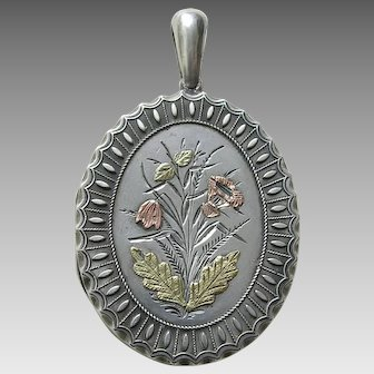 "Victorian Applied Gold Flowers ""LM"" Silver Locket"