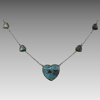 Vintage Abalone Heart Sterling Necklace