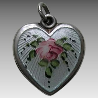 Walter Lampl Enameled Pink Rose Sterling Heart Charm