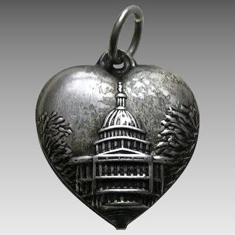 Vintage Capitol Building Sterling Heart Charm
