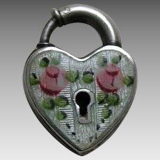 Walter Lampl EnameledPink Roses Sterling Heart Lock