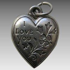 "Vintage ""I Love You"" Floral ""Aunt Edie"" Sterling Heart Charm"