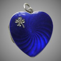 Antique Enameled Blue Pearl Shamrock 935 Silver Heart Locket