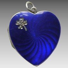 Antique Enameled Blue Pearl Shamrock 935 Silver Heart Locket