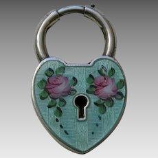 Vintage Large Green Enameled Sterling Heart Lock