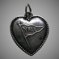 Antique Yale Sterling Heart Charm