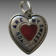 "Antique Enameled ""You Are My Sweetheart"" Rebus Sterling Heart Charm"