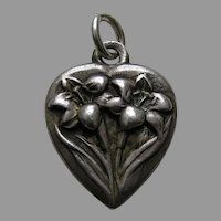 Vintage Flower of the Month April Easter Lily Sterling Heart Charm