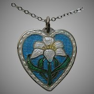 Vintage Enameled Easter Lily Sterling Heart Pendant/Charm and Chain