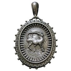 English Victorian Mountain Goat Sterling Locket