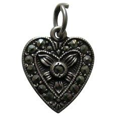 "Vintage Marcasite ""Annie"" Sterling Heart Charm"