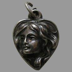 """Antique Art Nouveau Lady """"E.G."""" Sterling Heart Charm"""