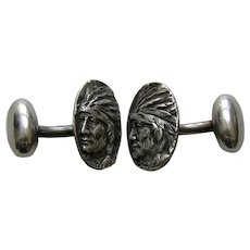 Antique Blackinton Native American Sterling Cufflinks