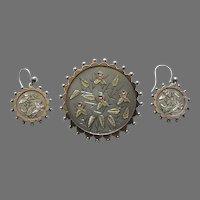 Victorian Applied Gold Flower Silver Demi-Parure