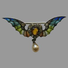 Edwardian Plique Winged Paste Heart Sterling Brooch