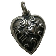 Vintage Heart and Arrow Extra Puffy Sterling Heart Charm